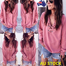 Autumn Women V Neck Lace Up Crochet Sheer Long Sleeve Loose Tops T-Shirt Blouse