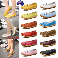 AU 3-7 Women Leather Loafers Flat Boat Hollow Peas Shoes Slip On Casual Shoes