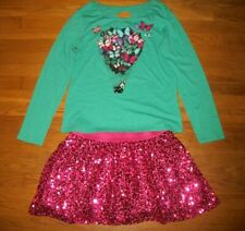 JUSTICE 2 PC GRAPHIC TOP & SKIRT SET SEQUIN LACE BUTTERFLY HEART GIRLS SZ 18 20
