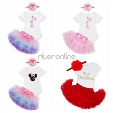 Infant Baby Girls First Birthday Christmas Party Minnie Romper Tutu Skirt Outfit