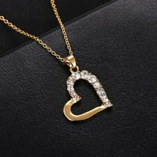 Fashion Gold/Silver Heart Crystal Pendant Necklace Women Lady Jewelry Gift New