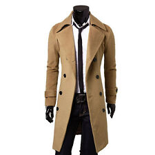 Mens Stylish Slim Fit Trench Coat Winter Long Jacket Double Breasted Overcoat xx