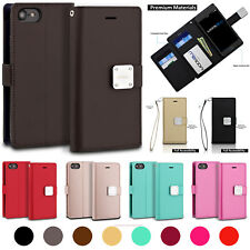 6 Card Slots Magnetic Faux Leather Wallet Folio Case Wrist Strap For Cell Phones