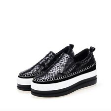 Womens Fashion Platform Shoes Hot Leather Casual Loafers New Round Slip On Flats