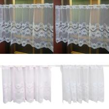 Single Lace Floral Voile Swag Decorative Net Curtain Tassel Drape Pelmet Valance