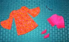 VINTAGE MOD PJ BARBIE CLOTHES PINK DRESS PANTIES PILGRIMS SHOES SUNGLASSES  LOT!