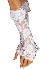 Wedding Arm Warmers Bridal Gloves Fingerless White Medium Long Lace Burlesque