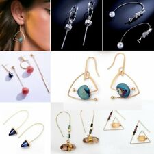 Natural Stone Geometric Figure Dangle CZ Ear Stud Earrings Women Wedding Jewelry
