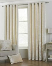 DEEP PILE CRUSHED VELVET CREAM LINED ANNEAU TOP CURTAINS 8 SIZES