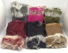 WOMEN'S SUEDE FINGERLESS WINTER GLOVES WITH FAUX FUR TRIM EXCELLENT QUALITY