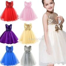baby Girls Sequins Bow Dress Princess Formal Party Wedding Bridesmaid Tulle Gown