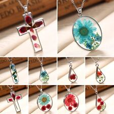 Natural Real Dried Rose Flower Drop Glass Pendant Necklace Sweater Chain Jewelry