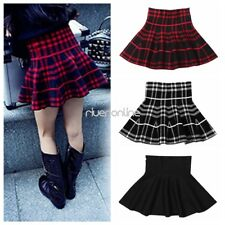 Baby Girls Kids High Waist Plaid Skater Flared Pleated Short/Mini Skirt Dress