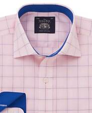 Savile Row Men's Pink Navy Prince of Wales Check Slim Fit Shirt - Single Cuff