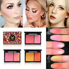 2 Colors Cosmetic Blush Palette Kit Face Contour Makeup Blusher Powder Set