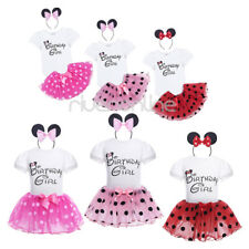 3PCS Infant Baby Girls Birthday Outfit Bodysuit Romper Tutu Skirt Headband Party