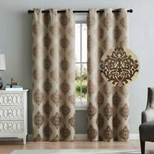2 Blackout Window Curtains Taupe Damask Grommet Panel Pair Drapes