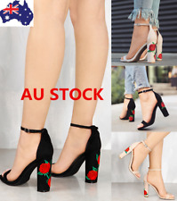 Women Block Heel Ankle Strap Sandals Embroidery Buckle Shoes Party Beach Sandals