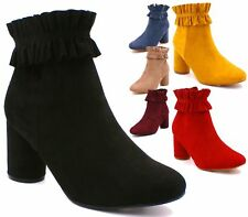 LADIES WOMENS HIGH BLOCK HEELS ROUND TOE RUFFLE CHELSEA ANKLE BOOTS SHOES SIZE