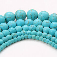4mm 6mm 8mm 10mm12mm Round Blue Synthetic Turquoise Loose Beads Strand TR074