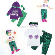 Toddler Infant Kid Baby Girl T-shirt Tops+Mermaid Pants Outfits Clothes 3pcs Set