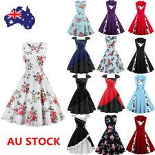 16 Style Women 50s Vintage Rockabilly Floral Swing Dress Cocktail Party Dress