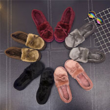 Winter Women Bowknot House Indoor Slippers Soft Warm Faux Fur Home Shoes Little