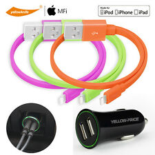 3xApple iPhone iPad iPod Touch Charger Sync Data Cable+Mini Dual USB Car Charger
