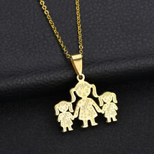Unique Stainless Steel Single Mother Kids Pendant Chain Necklace Jewelry Dazzli
