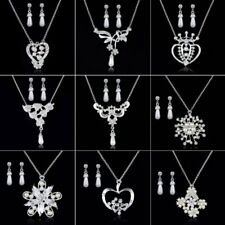 Silver Pearl Crystal Flower Earrings Necklace Jewelry Set Valentine's Day Gift