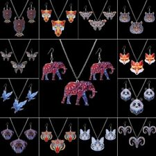 Butterfly Owl Animal Elephant Printing Earrings Necklace Jewelry Set Women Gift