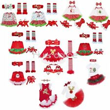 Infant Baby Girls Christmas Tutu Dress Skirt Romper Headband Outfit Set Costume
