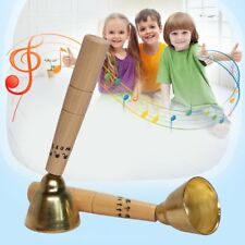 Child Hand Bell Orff World Wooden Touch Bell Wooden Handle Copper Musical Toy HL