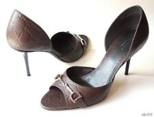 new $675 GUCCI brown GG leather open-toe horsebit LOGO D'Orsay heels shoes -SEXY