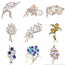 Gold Plated Crystal Wedding Bridal Flower Brooch Pin Women Costume Jewelry New