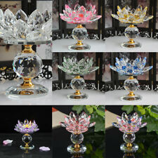 Crystal Buddhist Lotus Big Tealight Candle Holder Butter Light Lamp Base