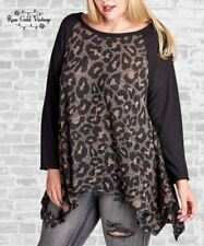 NWT Boutique Oddi Plus Sharkbite Tunic Top - Leopard - 1X, 2X & 3X