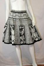 Boho Beaded Sequin Linen Blend Ethnic Baroque Floral Full Swing Skirt I.C.E. 8