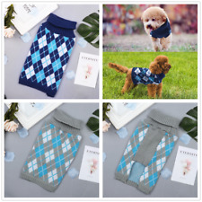 Warm Plaid Pet Dog Sweater Puppy Cat Winter Clothes Knitwear Thick Coat Apparel