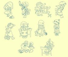 School Sunbonnets Redwork Machine Embroidery-40 Designs- By Anemone Embroidery