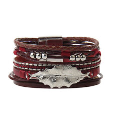 Fashion Leaves Multilayer Leather Bracelet Bangle Magnet Buckle Jewelry