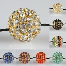 Crystal Rhinestone 10mm Round Ball Golden Loose Spacer Beads Charms Fit Bracelet