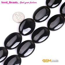 Flat Oval Gemstone Black Agate Beads for Jewelry Making Strand 15""