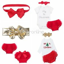 My 1st Christmas Baby Girls Romper Dress Bloomers Outfits Bodysuit Headband Set