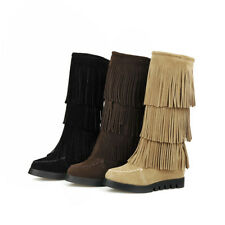 Fashion Faux Suede Layers Tassel Mid Calf Boots Roman Womens Wedge Heels Shoes