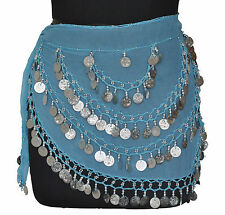 Belly Dancing Hip Wrap Scarf Costume Gypse Skirt Bra Turquoise / Silver Coins CH