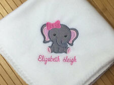 Personalized Monogrammed Cute Elephant Baby Girl Blanket