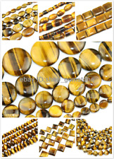 """Button Sphere Square Rondelle Natural Yellow Tiger's Eye Gemstone Beads 15"""""""