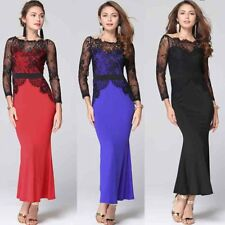 Women Dress Plus Size Long Sleeve Lace Cocktail Party Wedding Evening Maxi Dress