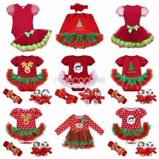 Baby Kids Girls Christmas Santa Tree Outfit Fancy Tutu Dress Romper Clothes Set